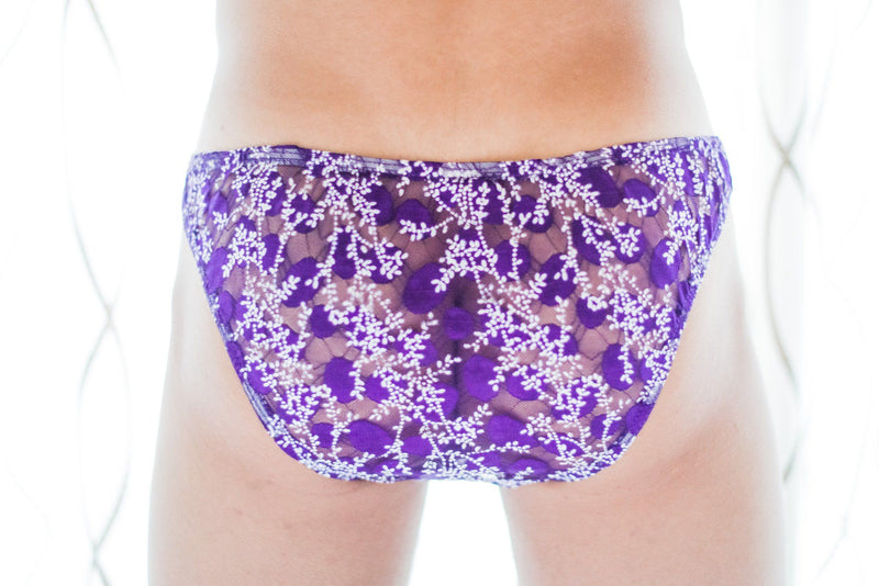 Royal Purple Sheer Floral Briefs Briefs TasteeTreasures