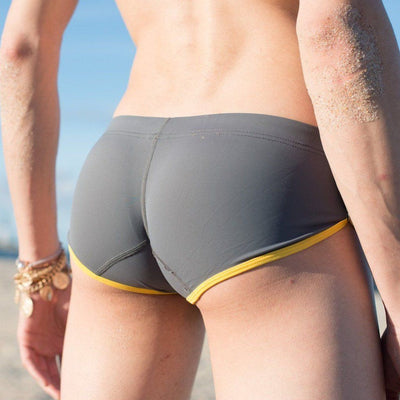 Grey Draw String Swim Trunks Swim Wear TasteeTreasures