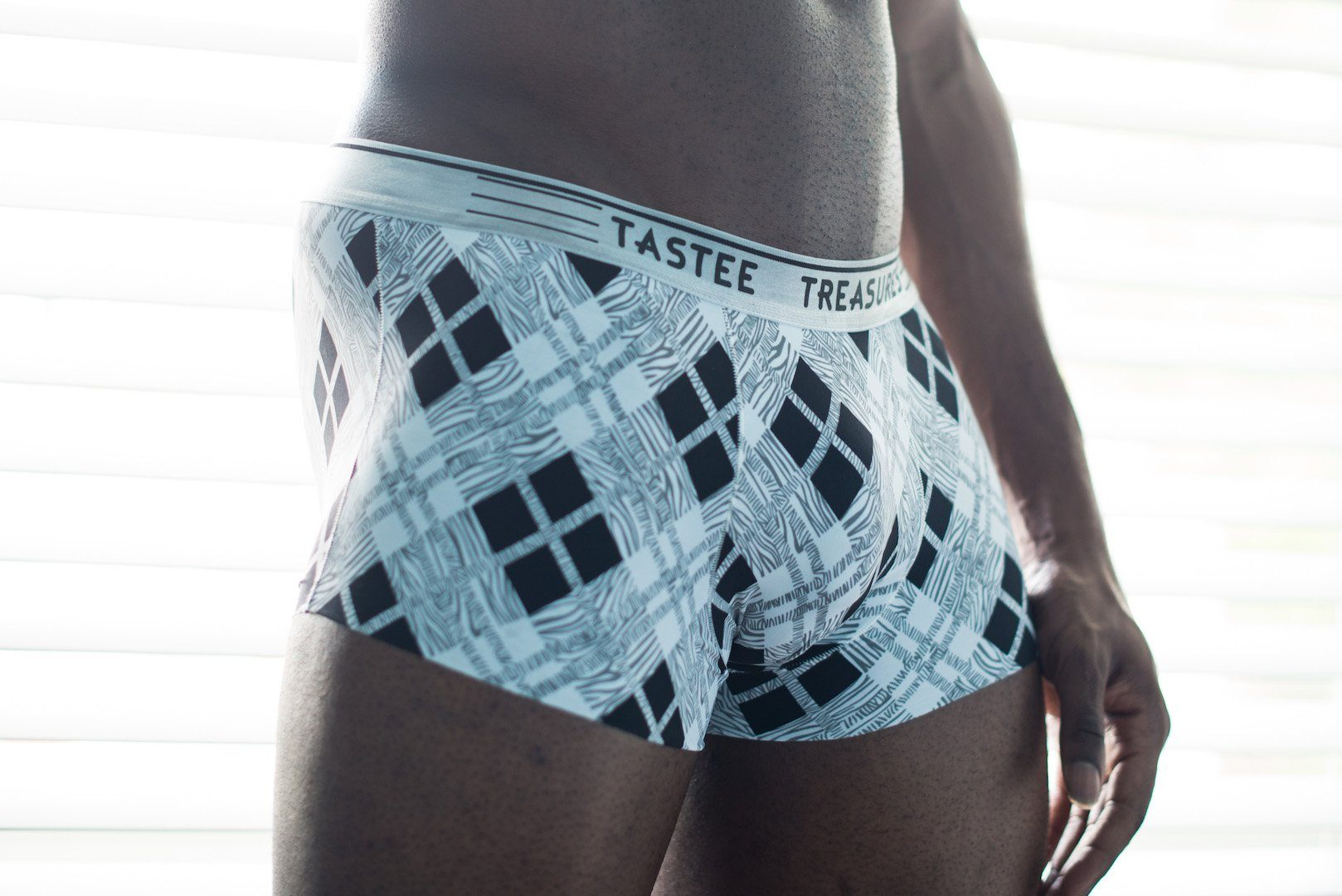 B&W Plaid Boxer Briefs Boxer Briefs TasteeTreasures 26in-28in