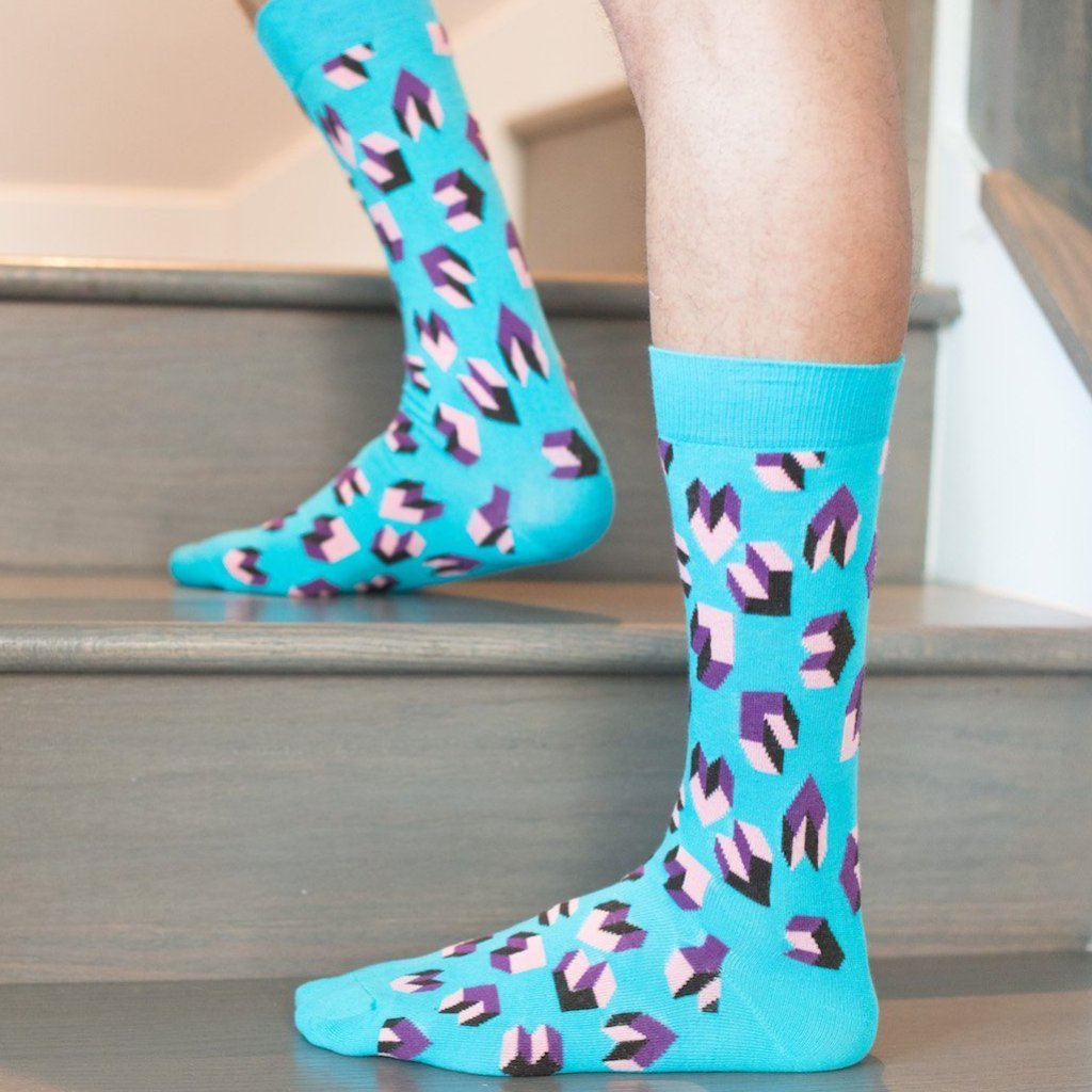 Tetris Heart Socks - Blue Socks TasteeTreasures