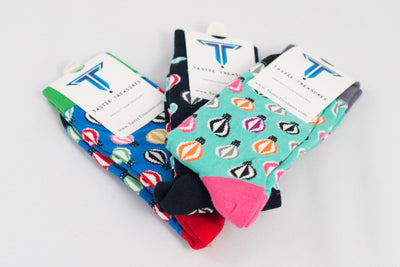 Hot Air Balloon Socks 3-Pack Socks TasteeTreasures