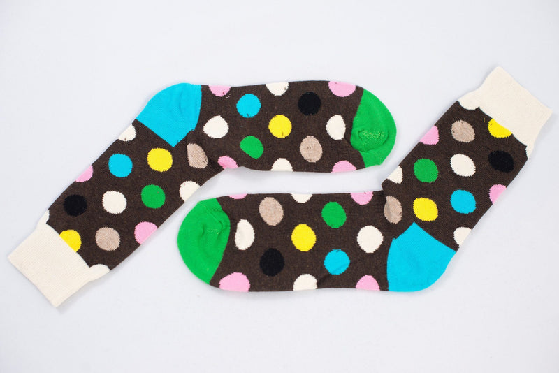Brown Polka Dots Socks TasteeTreasures