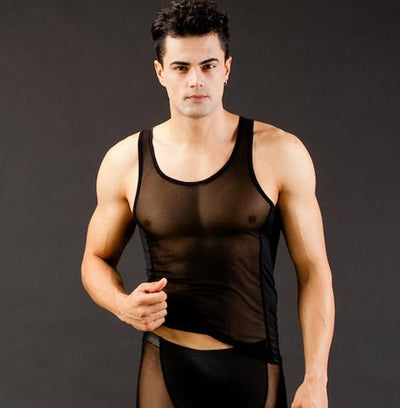 Black Sheer Mesh Tank Top Tops and Shirts TasteeTreasures M