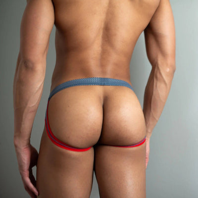 Grey Sport Jockstrap Jockstraps TasteeTreasures 28in-30in