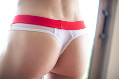 Sheer White Pouch Thong Thong TasteeTreasures
