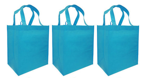CYMA Reusable Tote Bags - Reusable Grocery Totes, Solid Color- 3 Bag Set- Aqua Blue