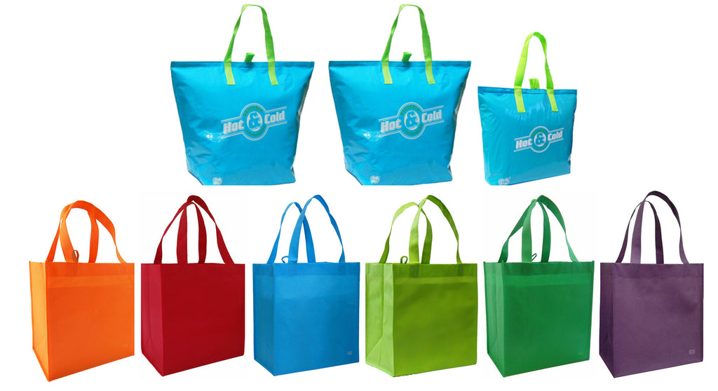 CYMA 3 Insulated Tote Bags, Aqua Blue+ 6 Bright Reusable Grocery Totes Bag Set