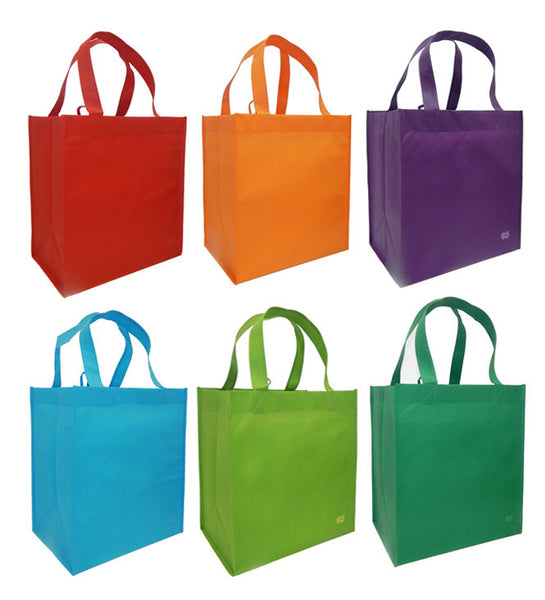 Reusable Grocery Tote Bag, Bright Combo- 6 Bag Set