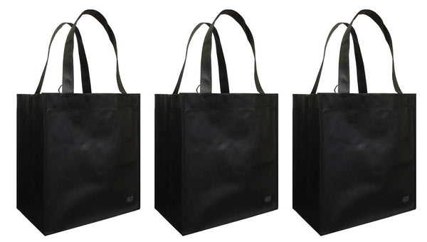CYMA Reusable Tote Bags - Reusable Grocery Totes, Solid Color- 3 Bag Set- Black