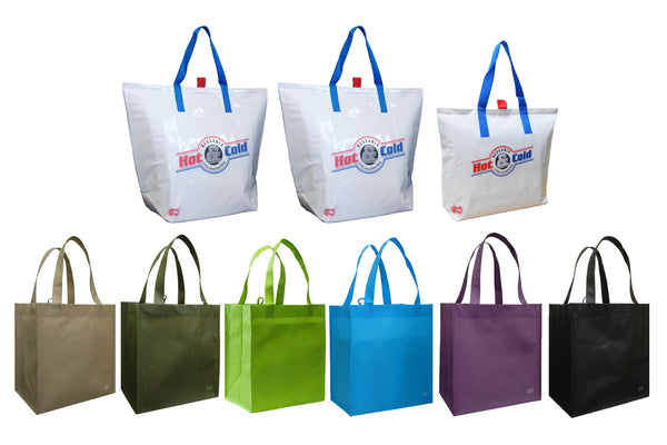 CYMA 3 Insulated Tote Bags, White + 6 Reusable Grocery Totes Bag Set