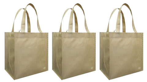 CYMA Reusable Tote Bags - Reusable Grocery Totes, Solid Color- 3 Bag Set- Latte