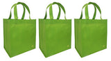CYMA Reusable Tote Bags - Reusable Grocery Totes, Solid Color- 3 Bag Set- Lime
