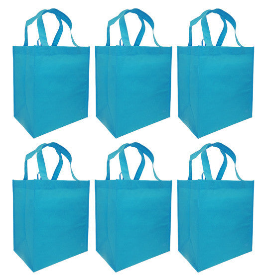 CYMA Reusable Tote Bags - Reusable Grocery Totes, Solid Color- 6 Bag Set- Aqua Blue