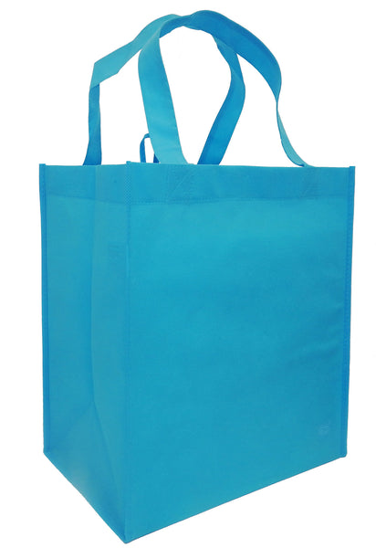 Reusable Grocery Totes, Solid Color- 6 Bag Set- Aqua Blue
