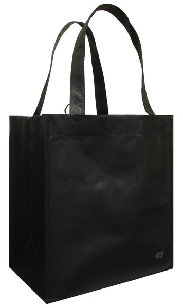 Reusable Grocery Totes, Solid Color- 6 Bag Set- Black
