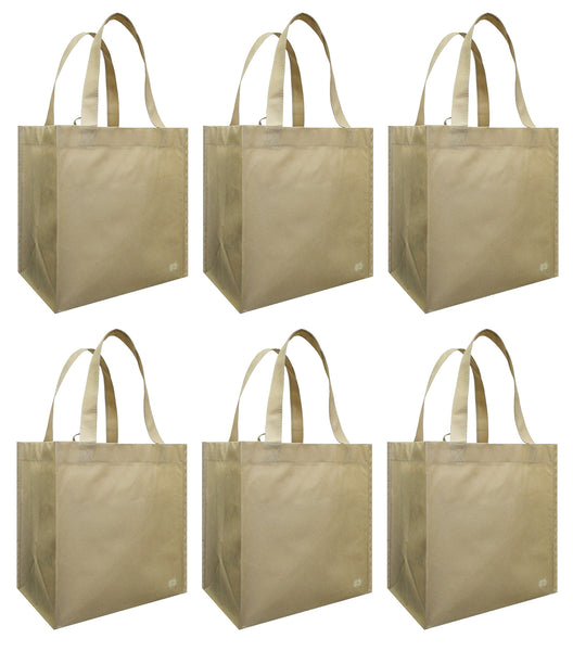CYMA Reusable Tote Bags - Reusable Grocery Totes, Solid Color- 6 Bag Set- Latte