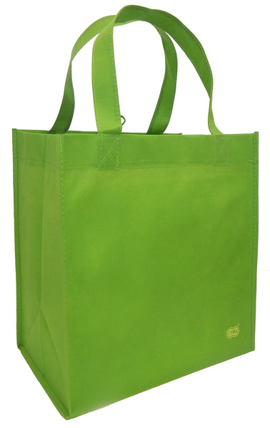 Reusable Grocery Totes, Solid Color- 6 Bag Set- Lime