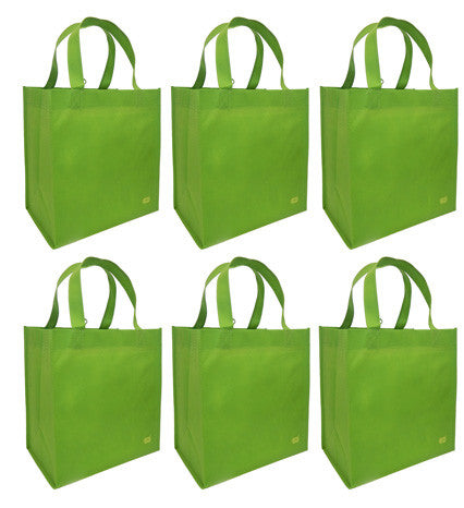 CYMA Reusable Tote Bags - Reusable Grocery Totes, Solid Color- 6 Bag Set- Lime