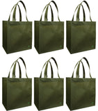 CYMA Reusable Tote Bags - Reusable Grocery Totes, Solid Color- 6 Bag Set- Olive