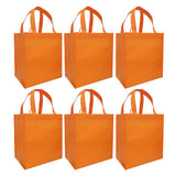 CYMA Reusable Tote Bags - Reusable Grocery Totes, Solid Color- 6 Bag Set- Orange