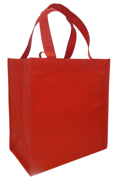 Reusable Grocery Totes, Solid Color- 6 Bag Set- Red