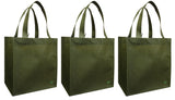 CYMA Reusable Tote Bags - Reusable Grocery Totes, Solid Color- 3 Bag Set- Olive
