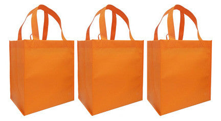 CYMA Reusable Tote Bags - Reusable Grocery Totes, Solid Color- 3 Bag Set- Orange