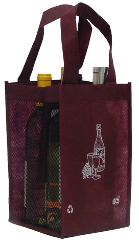 4 Bottle Tote Tall, Printed, Mesh Side Panels [4 Bag Set]