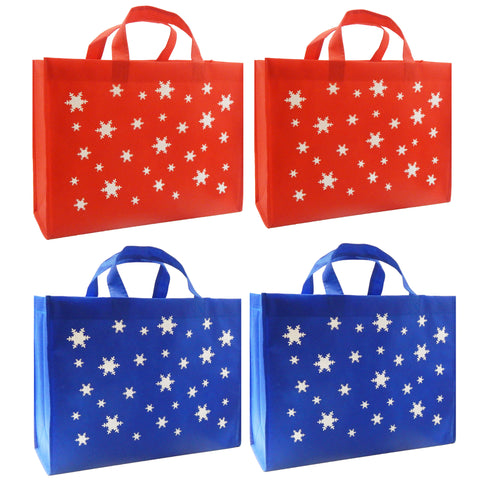 CYMA Reusable Gift Bags, Large, Red & Royal Blue, Snowflake, 4 Pack