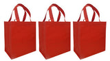 CYMA Reusable Tote Bags - Reusable Grocery Totes, Solid Color- 3 Bag Set- Red