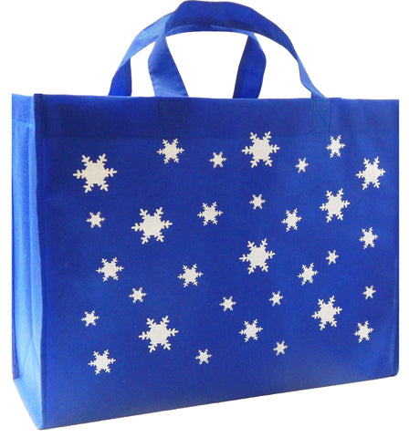 CYMA Reusable Gift Bags, Large, Royal Blue, Snowflake Print