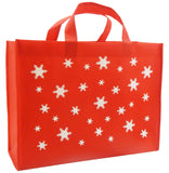 CYMA Reusable Gift Bags, Large, Red, Snowflake Print