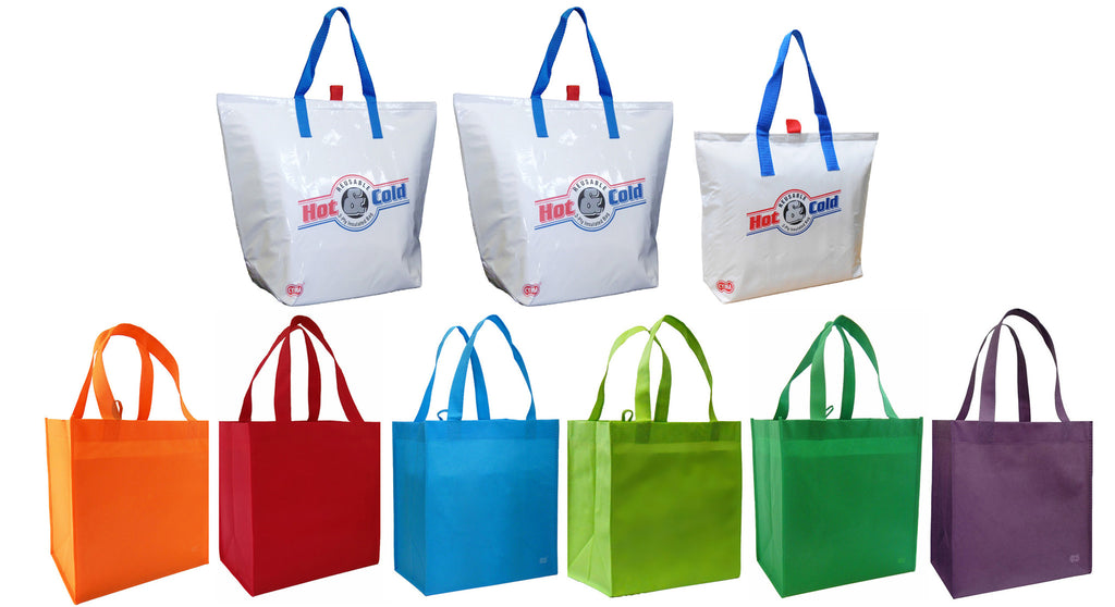 eab9a756ed5c Insulated Tote Bags (3), White + (6) Bright Reusable Grocery Totes Bag Set