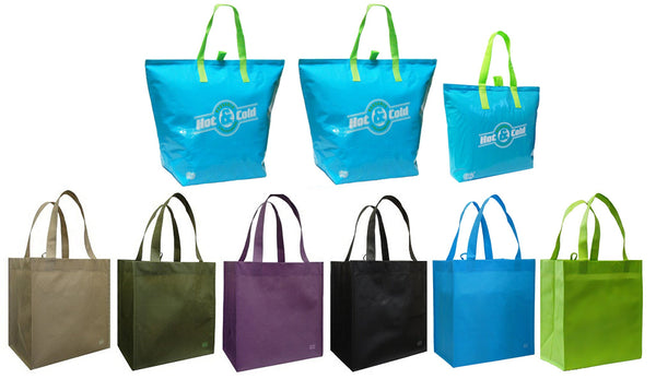 CYMA 3 Insulated Tote Bags, Aqua Blue + 6 Reusable Grocery Totes Bag Set