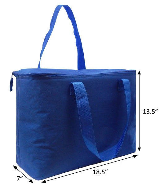 Insulated Tote Bags - Carry All Insulated Tote Extra Large- Royal Blue, Measurements