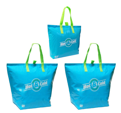 CYMA Insulated Tote Bags - Insulated Reusable Tote Bags, 3 Bag Set- Aqua Blue