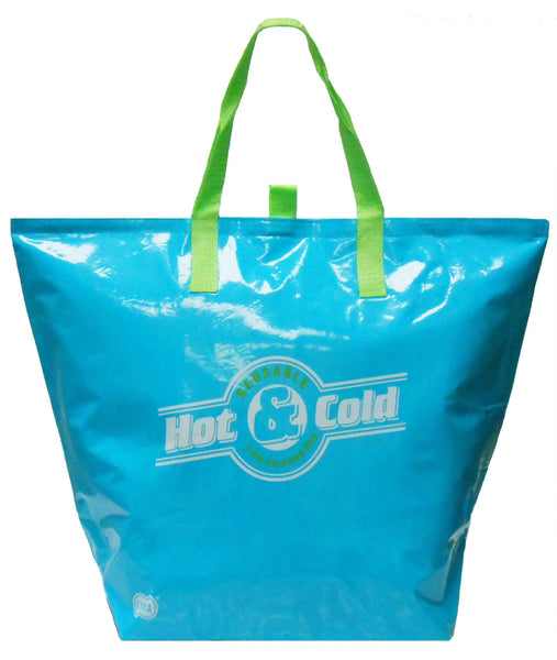 CYMA Insulated Tote Bags - Large Insulated Tote, Flat Bottom W/New Easy Open Pull-tabs- Aqua Blue