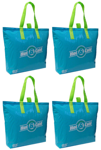 "CYMA Insulated Tote Bags - Insulated Tote Bag, 15""x12""+3"" Flat Bottom, 4 Bag Set- Aqua Blue"