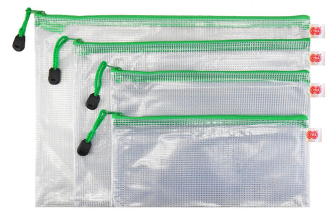 CYMA Organization Storage Pouch - PVC Zippered Envelope Organization Storage Pouch Bags- 4 Bag Set- Green