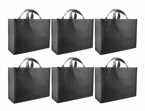 CYMA Reusable Gift Bags - Reusable Gift Bags, Large-  6 Bag Set- Black