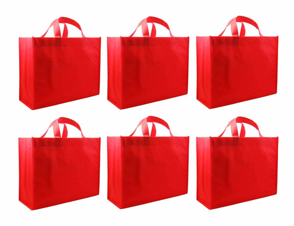 CYMA Reusable Gift Bags - Reusable Gift Bags, Large-  6 Bag Set- Red