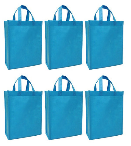 CYMA Reusable Gift Bags - Reusable Gift Bags, Medium- 6 Bag Set- Aqua Blue