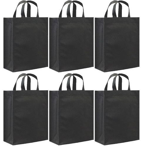 CYMA Reusable Gift Bags - Reusable Gift Bags, Medium- 6 Bag Set- Black