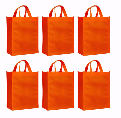 CYMA Reusable Gift Bags, Medium- 6 Bag Set- Orange