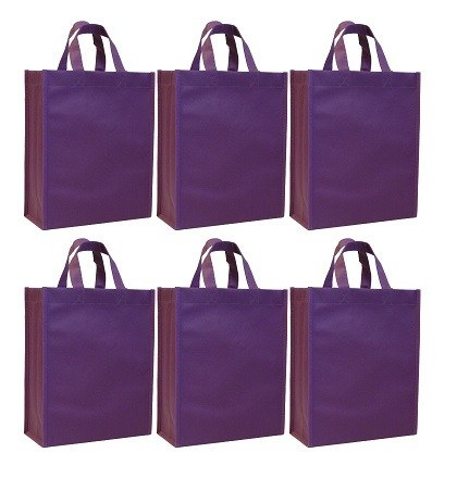 CYMA Reusable Gift Bags, Medium- 6 Bag Set- Purple