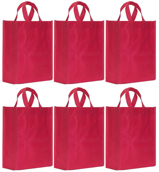 CYMA Reusable Gift Bags, Medium- 6 Bag Set- Raspberry