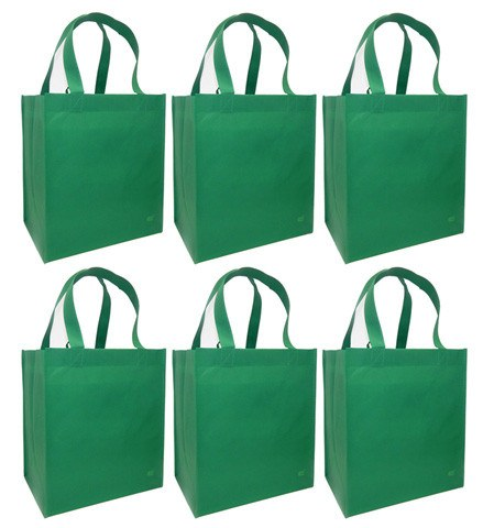CYMA Reusable Tote Bags - Reusable Grocery Totes, Solid Color- 6 Bag Set- Green