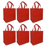 CYMA Reusable Tote Bags - Reusable Grocery Totes, Solid Color- 6 Bag Set- Red