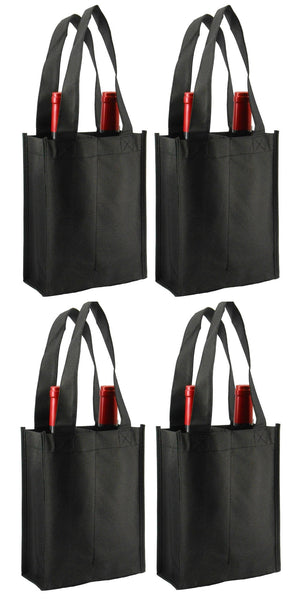 CYMA Reusable Wine Totes - Reusable 2 Bottle Totes Non-Printed- 4 Bag Set- Black