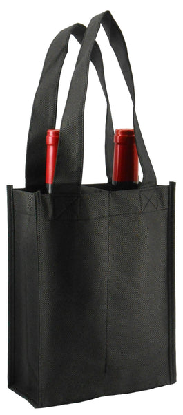 CYMA Reusable Wine Totes - Reusable 2 Bottle Totes Non-Printed-Black